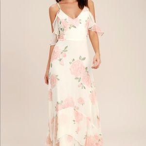 Lulu's Floral White Maxi Dress